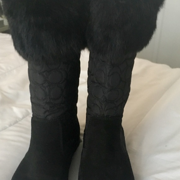 Coach Black sure and nylon flat boots